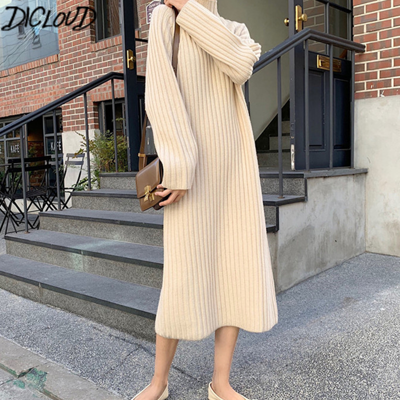 DICLOUD Korean Long Knitted Dresses Women Winter Long Sleeve Turtleneck Sweater Dress Ladies Elegant Oversized Sweater A Line