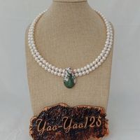 N022952 18 2Strands White Pearl Choker Necklace CZ Pave Peacock Pendant