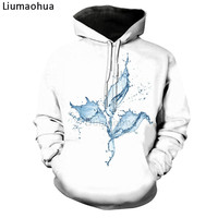 Liumaohua brand 3D printing Water flower/thumb/Black cat White clothes Hoodies Sweatshirt tops size s 5xl