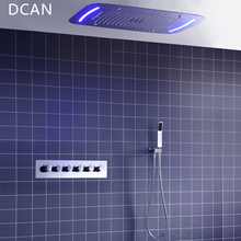 ФОТО dcan 5 function shower system thermostatic faucets embedded ceiling remote led shower head 420*710mm mist waterfall shower