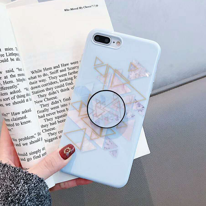 Geometric Marble Pattern Kickstand Phone Case For iPhone XS Max XR X 6 6S 7 8 Plus Fashion IMD Soft Protective Back Cover Coque (10)