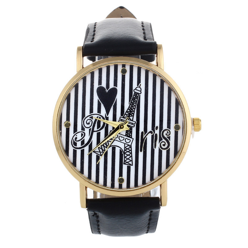Lovesky Fashion 2016 Unisex Watches Women Men Newly Disign Tower Stripe Pattern Faux Leather Quartz Wrist Watch relogio Clock