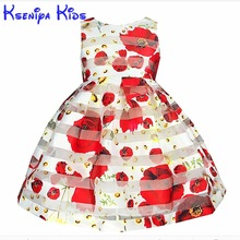 2017 European Style Summer Girl Dress Sleeveless Floral Child Ball Gown Kids Dresses For Girls Wedding Dress 2-10y Zk0701