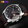 Novos Esportes Relógios Homens Moda Quartzo Pulseira de Couro Casual Relógios de Pulso À Prova D' Água Cronômetro Marca de Luxo Relogio masculino