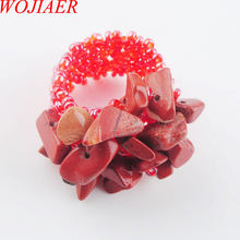 WOJIAER Natural Irregular Gem Stone Ring For Lady Red River Jasper Stretch Austrian Finger Rings Jewellery PJ3048(China)