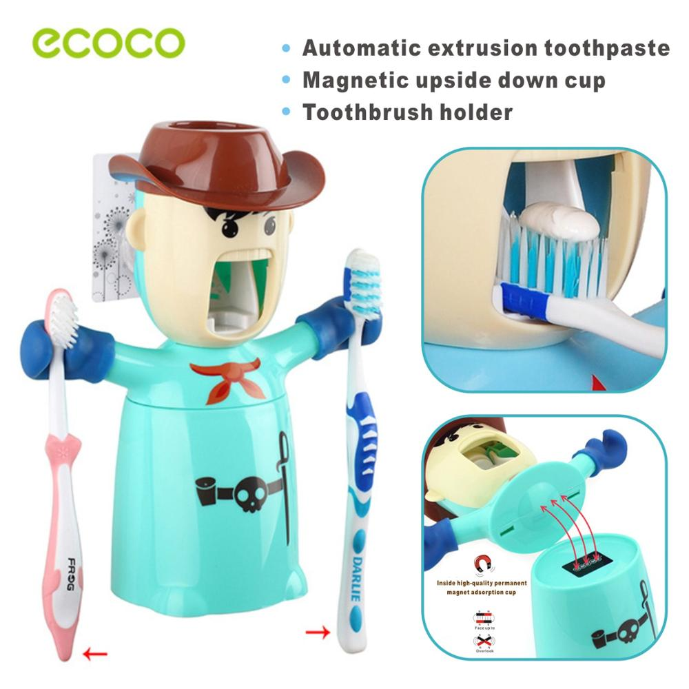 Wall Automatic Toothpaste Dispenser Children Tooth Brush Holder Toothpaste Squeezer Magnetic Upside Cup Bathroom Accessories Set