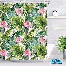 Cortina de ducha de tela de baño de 72 ''Liner Vintage verde Tropical hojas de plátano y flamencos Rosa poliéster impermeable y 12 ganchos