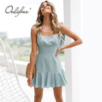Ordifree 2018 Summer Sundress A Line Dress Spaghetti Strap Blue Red Short Ruffle Mini Dress Robe