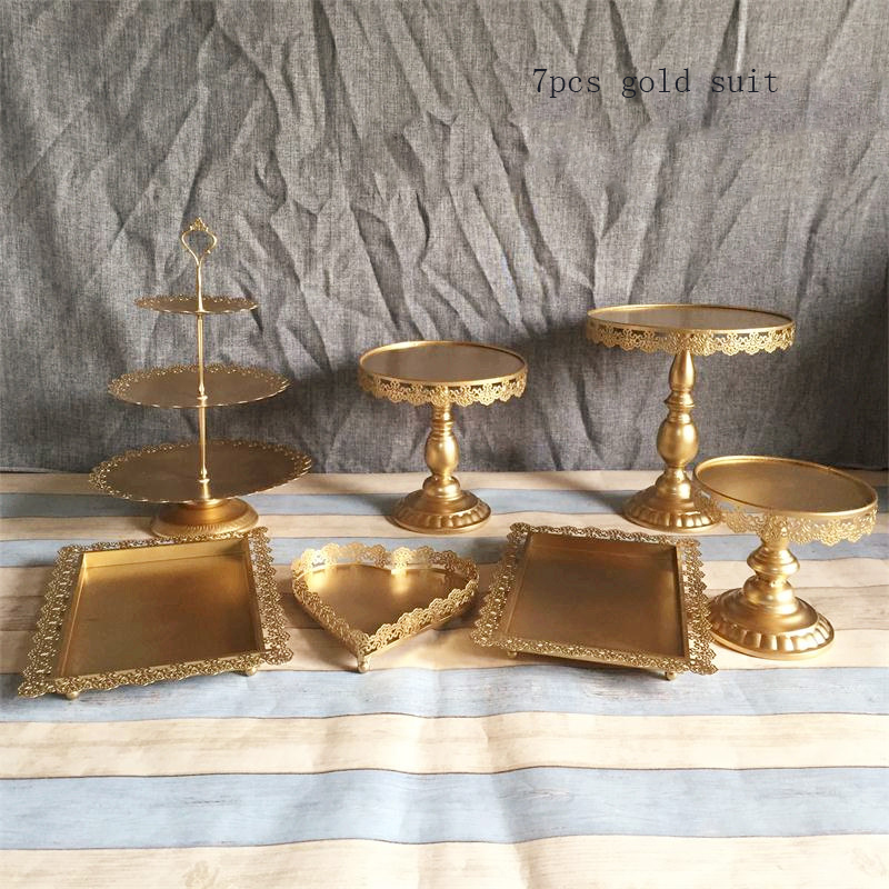 Gold Wedding Dessert Tray Cake Stand Cupcake Pan Party Supply 7PCS Set The cake table free