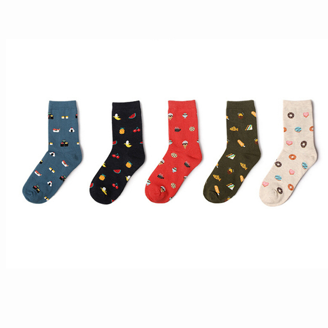 US $1.45 27% OFF|New Fashion 1Pair Korean Creative Cartoon Life Food Sushi  Watermelon Pattern Socks Male and Female Short Tube Cotton Socks-in Socks  ...