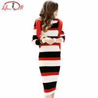 2017 Winter Black Red White Striped Sweater Dress Women Full Sleeve Knee Length Sexy Bodycon Vestidos