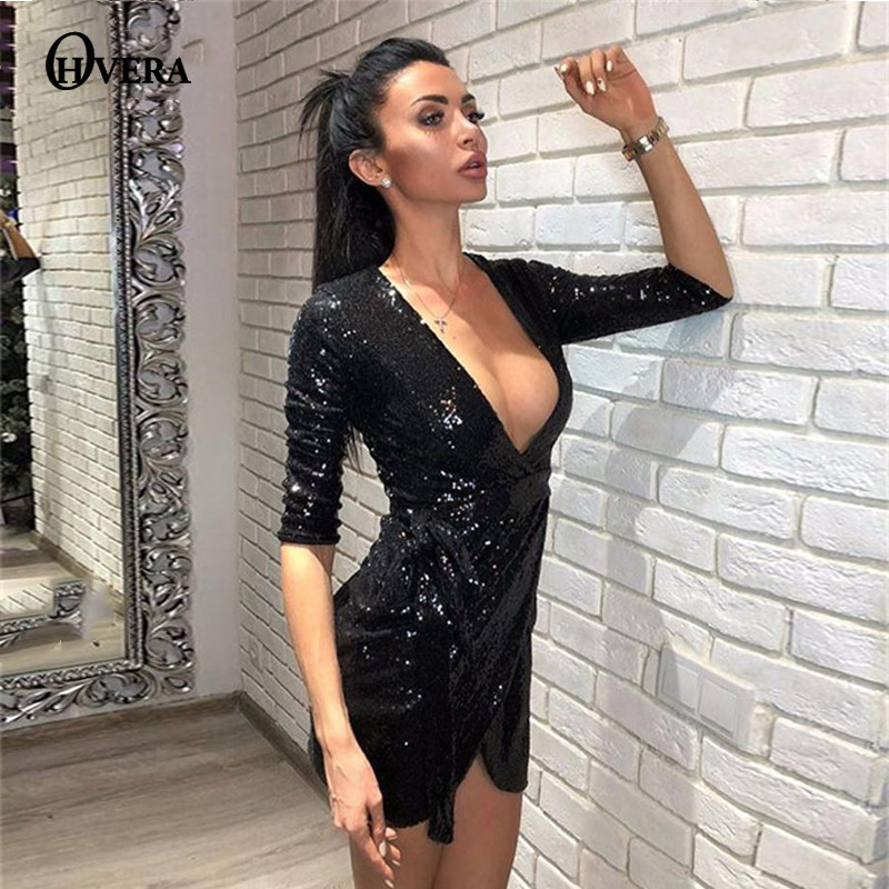 1ce8e1dd76eb6 Detail Feedback Questions about Ohvera 2018 Wrap Sexy Dress Women Half  Sleeve Autumn Dress Elegant Gold Black Mini Sequin Party Dresses 2018  Vestidos on ...