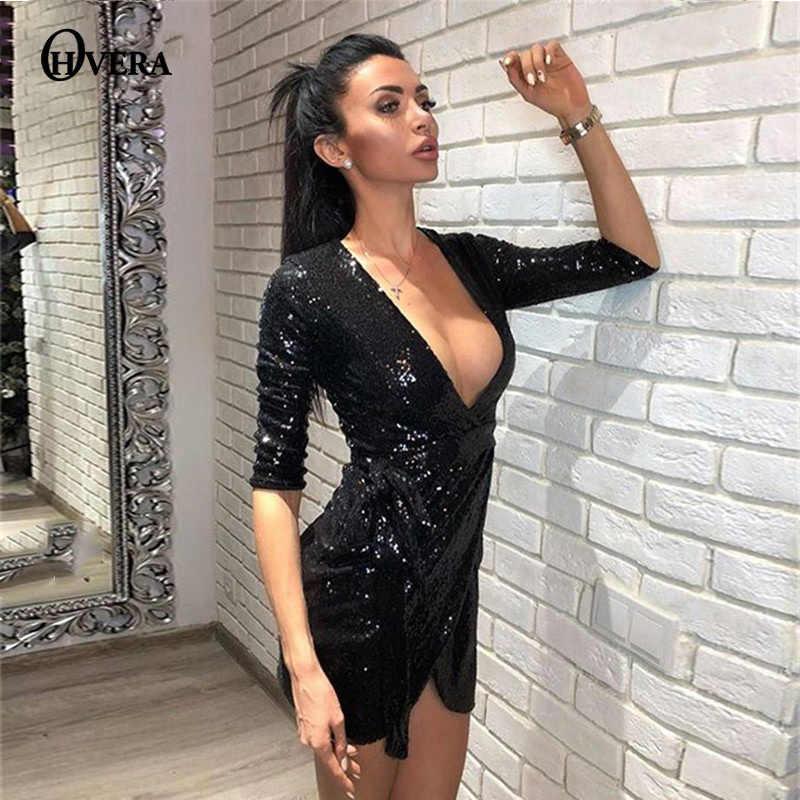 dc5ff5d941f Ohvera 2018 Wrap Sexy Dress Women Half Sleeve Autumn Dress Elegant Gold  Black Mini Sequin Party
