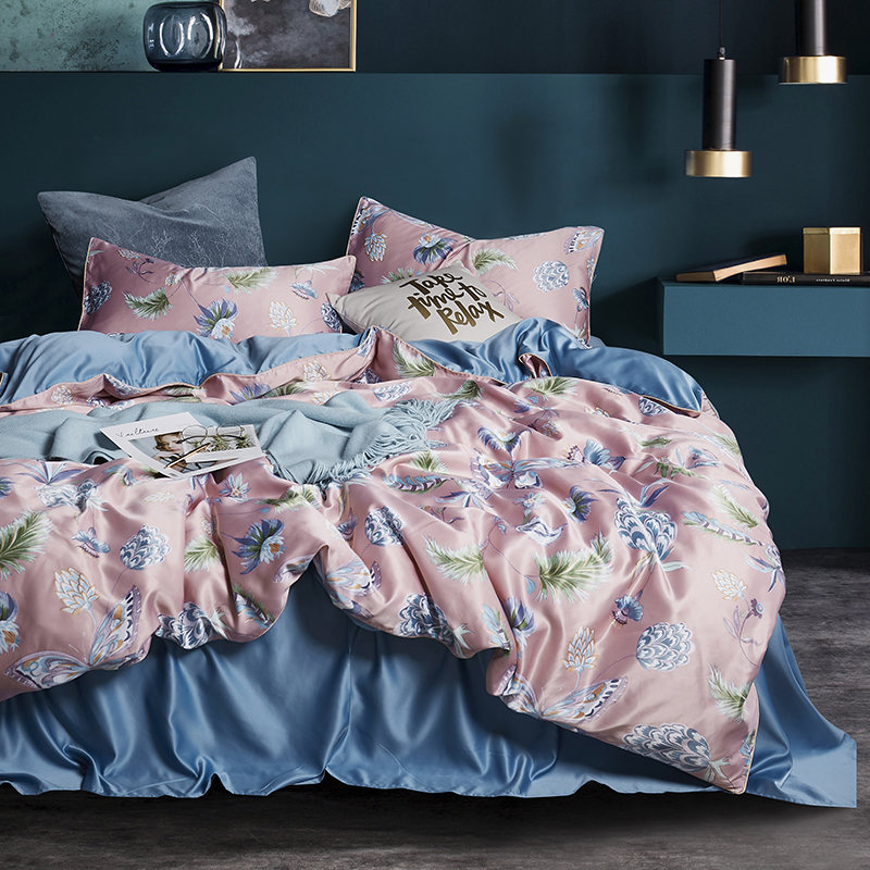 100 Satin Silk Bedding Set Home Textile Cartoon Butterfly Queen King Size Bed Set Bed Clothes Duvet Cover Flat Sheet Pillowcases