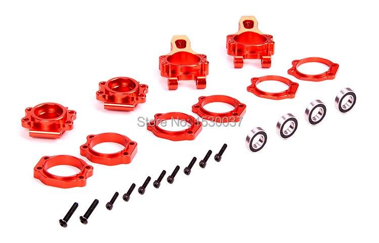 Pièces de course automobile 1/5 RC, moyeu d'essieu de roue arrière en alliage de CNC (TS-85082) argent/orange choisir