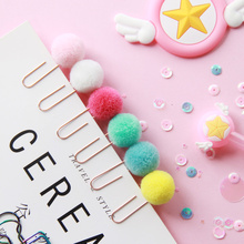 12 pcs Cute pompon ball bookmark Metal clips Color bulb page holder book accessories Stationery office school supplies F108