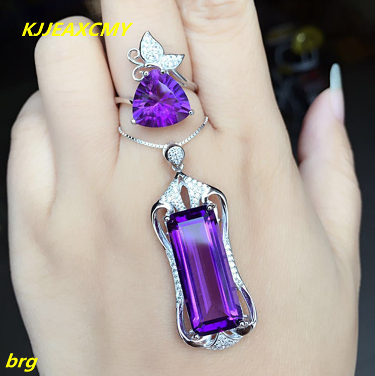KJJEAXCMY Fine jewelry, New Amethyst Set in Sterling Silver Amethyst Citrine Set Pendant Wild Embellished Gemstone Rings Opening one set stylish rhinestone inlay embellished golden rings