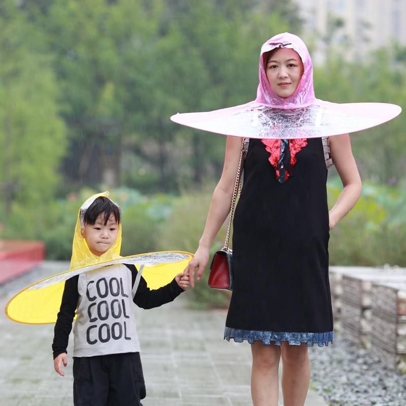 f521a4422c220 3 Colors Foldable UFO Rain Hat Portable Kids Adult Raincoat Kids Umbrella  PEVA Material Travel