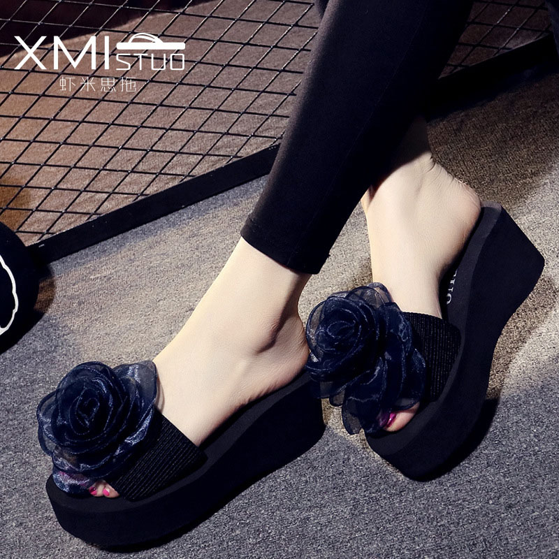 2018 Slippers Women Summer High-heeled Flowers Slippers For Women platform Thick Non-slip Slippers concise platform and bow design slippers for women