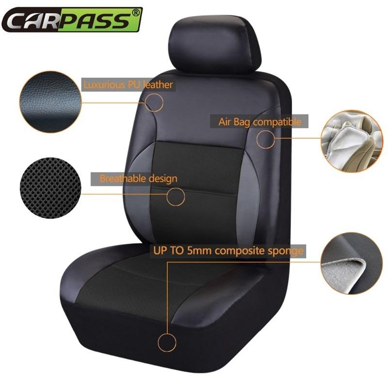 Car-pass 2019 Nuevo Fundas de Asiento de Coche de Coche de Cuero - Accesorios de interior de coche - foto 3