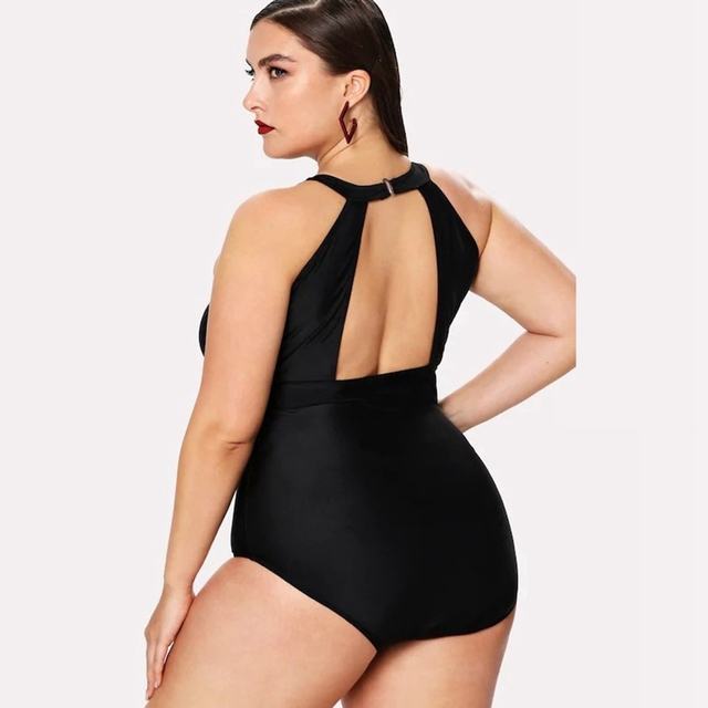 Plus size solid mesh swimsuit high neck halter swimwear women sexy monokini  patchwork swimming suit for women sexy swimsuit 5