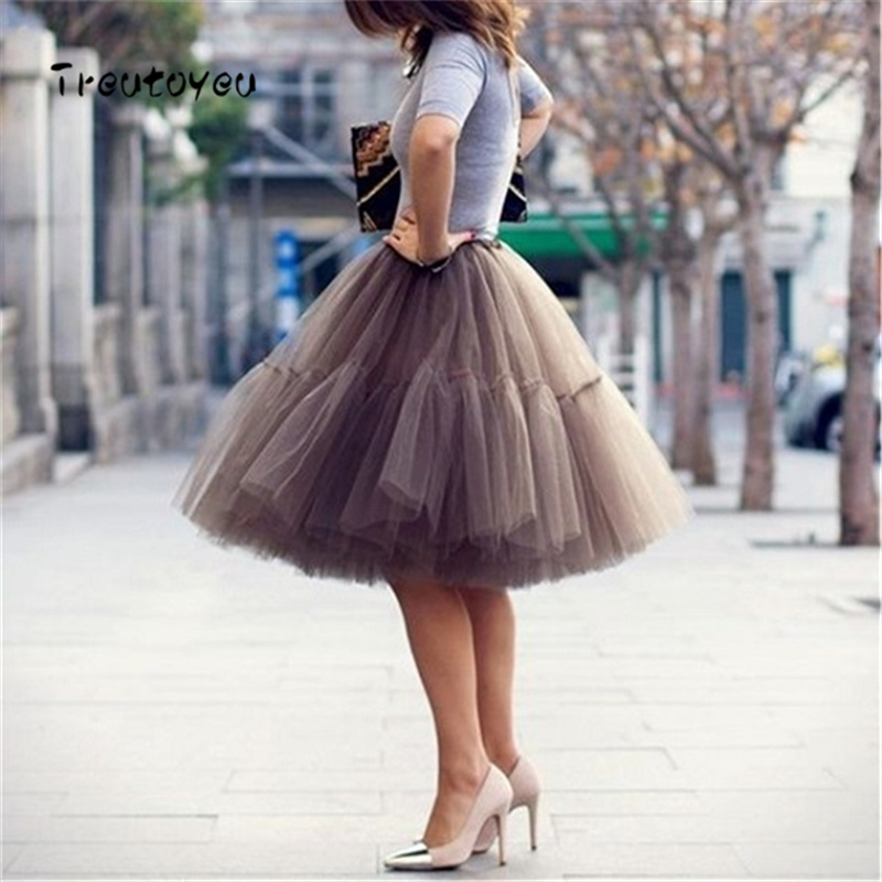5 층 55cm 투투 Tulle Skirt 빈티지 Midi Pleated Skirts Womens Lolita 페티코트 웨딩 faldas Mujer saias jupe