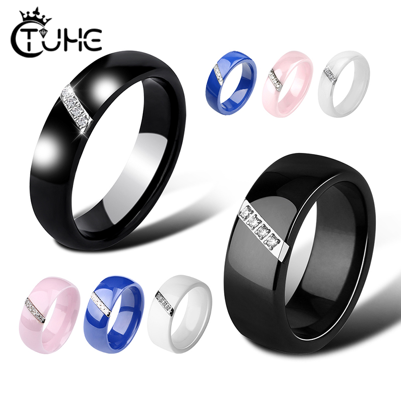 6mm Women Ceramic Rings Women Classic Black White Rings Smooth India Stone Crystal Jewelry Fashion Wedding Engagement Ring 2020