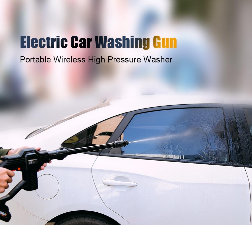 Portable électrique 12 V sans fil 0.9MPa haute pression voiture lavage pistolet lithium-ion batterie voiture Auto lave-linge propre pistolets