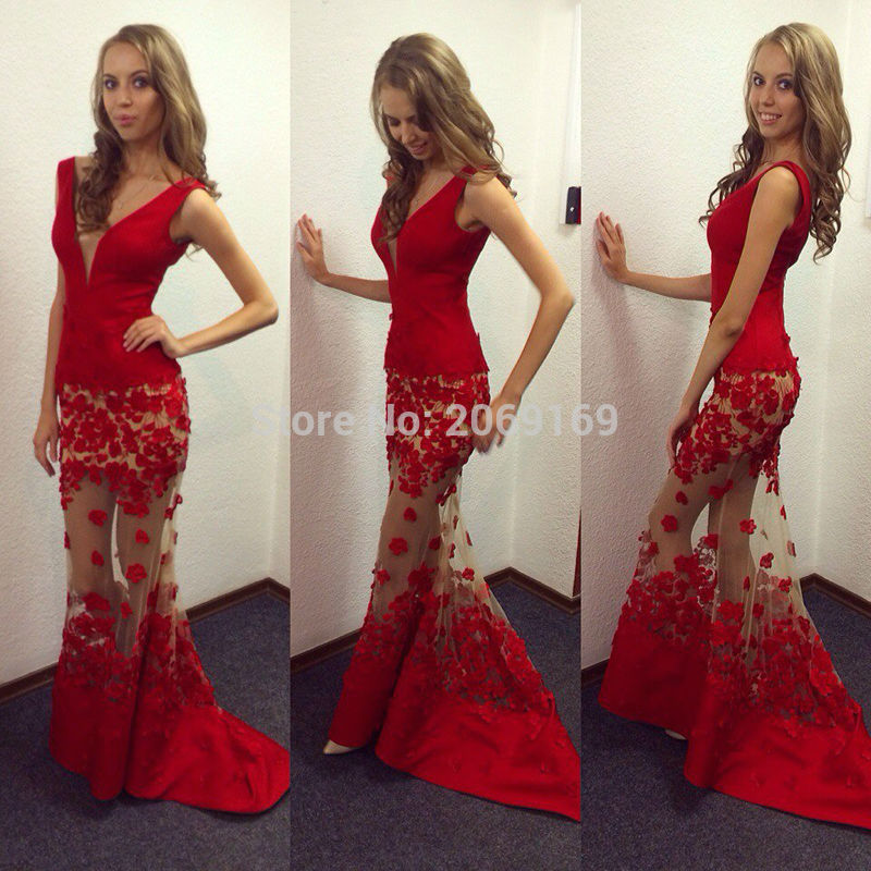 Delicate Sexy Deep V-Neck Red Mermaid   Prom     Dresses   Appliques Sleeveless Sweep Train   Prom   Gowns Custom Made Floor Length