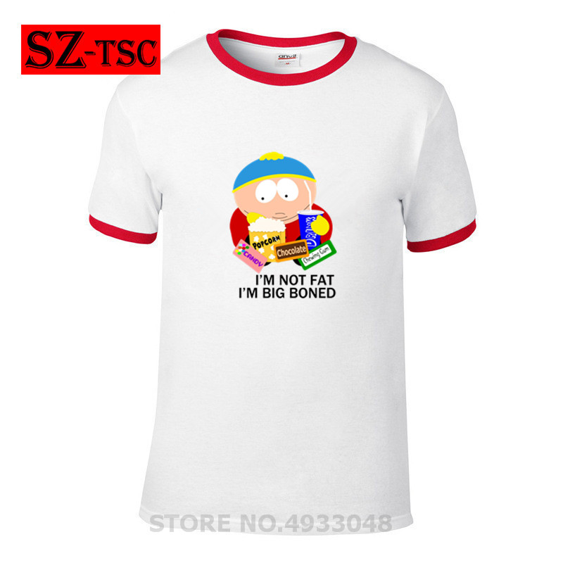 cartman I'm not fat I'm big boned   T     Shirt   Men's short sleeves Printed   T  -  shirt   Fashion Harajuku Tops comfortable elastic cotton