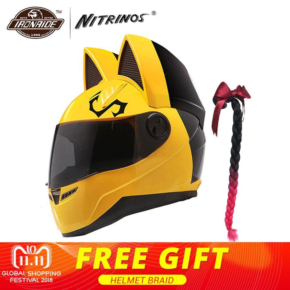 NITRINOS Moto Casque Femmes Moto Casque Chat Casque Intégral Casque Moto Casco Chat Cornes Moto Casque Capacete