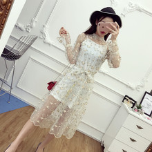 2017 New Spring Women dress Flare Sleeve Spaghetti Strap Floral Mesh Turtleneck Embroidery Half Perspective Outfit Dresses 522