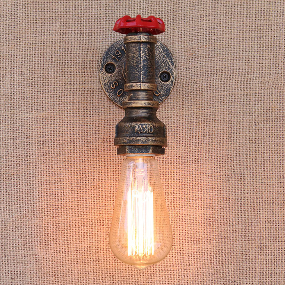Wall Lamp Pipe Steam Punk Stim Iron Light Industrial Water Lighting Loft Rust Retro Vintage E27 Sconce Lights Living Bedroom loft steam punk big sword style decorative iron rust water pipe wall lamp vintage e27 led sconce lights for living room bedside
