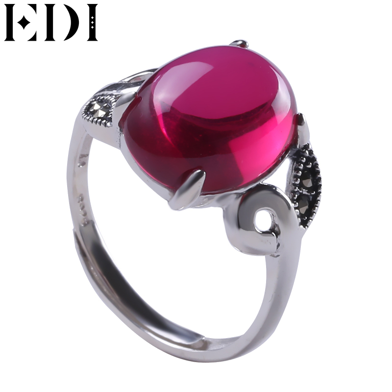 EDI 925 Sterling Silver Rings Vintage Pink Gemstone Channel Setting Engagement Ring Silver 925 jewelry Garnet