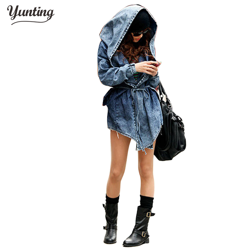 Wanita Denim Jeans Coat Jacket 2019 New Women Jeans Coats Vintage Long Sleeve Slim Hoody Plus Size Hooded Coat Roupas Femininos