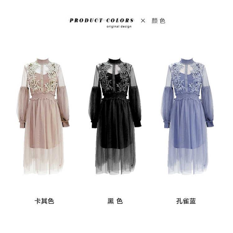 2019 nouvelles femmes mode Robe col montant lanterne manches maille Robe transparent dentelle broderie fée Robe Femme Vestidos Robe