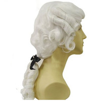 Baroque Curly White Male Lawyer Judge Colonial Deluxe Historical Costume Synthetic Cosplay Wig For Halloween
