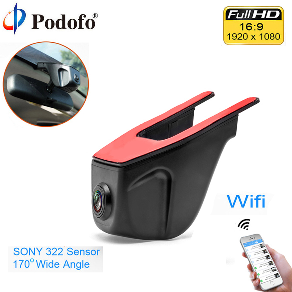 Podofo Wifi Car DVR Registrator Digital Video Recorder Camcorder Dash Camera Camcorder 1080P Night Version Novatek 96658 IMX 322