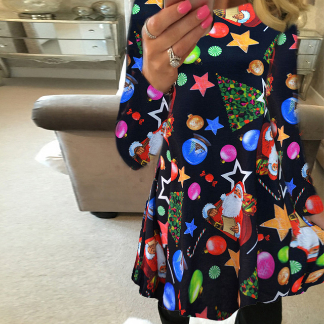 Winter Casual New Year Christmas Mini Dress Women Long Sleeve Floral 4