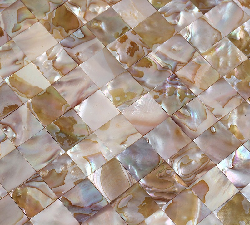 Seamless Natural Mother Of Pearl Iridescent Shell Mosaic