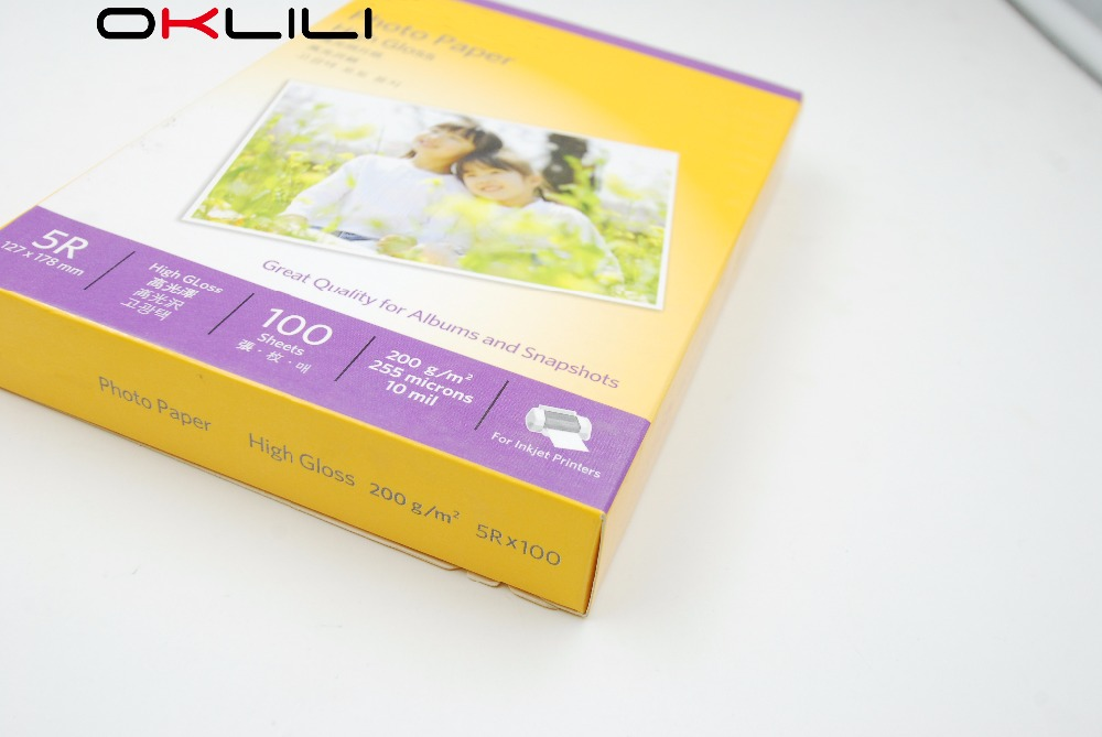 ORIGINAL NEW Kodak 5R x 100 High Gloss glossy Photo Paper 127 x 178 mm 100 sheets 200g 255 microns 10 mil for Inkjet Printer