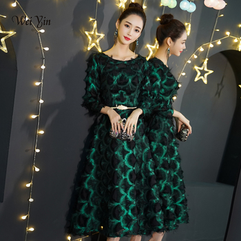 weiyin New Green Evening Dresses Lace Tea length A-line Elegant Fromal Graduation Birthday Party Prom Gown WY1295