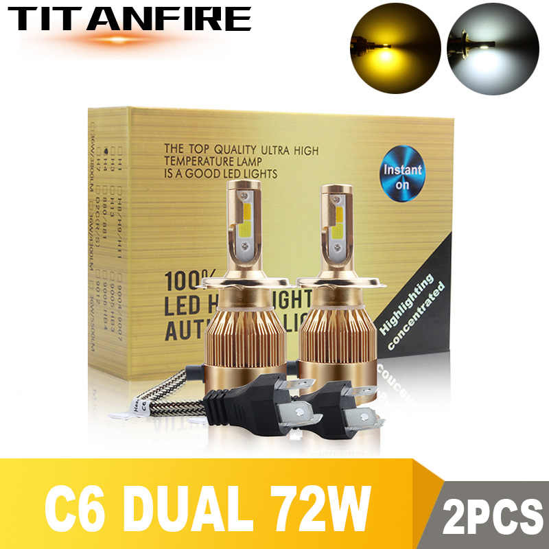TF30 2Pcs/lot LED Headlights Dual Bulbs Gold Conversion Kit Light 72W 8000LM H1 H3 H4 H7 HB3 HB4 9004 9005 Auto C6 COB Car 6000K