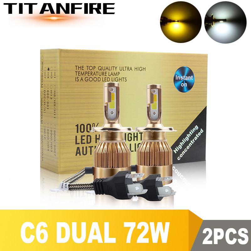 TF30 2Pcs/lot <font><b>LED</b></font> <font><b>Headlights</b></font> Dual Bulbs Gold Conversion Kit Light 72W 8000LM <font><b>H1</b></font> H3 H4 H7 HB3 HB4 9004 9005 Auto <font><b>C6</b></font> COB Car 6000K image