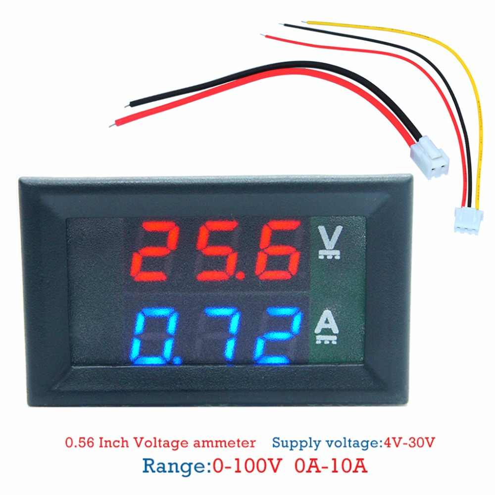 "Mini Digital Voltmeter Ammeter DC 100V 10A Panel Amp Volt Voltage Current Meter Tester 0.28"" Blue Red Dual LED Display DENG #319"