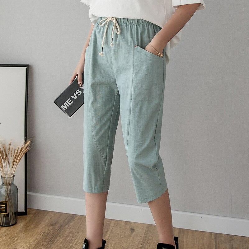 Casual Pants New Summer High Waist Cotton Linen Calf-Length Women's Pants Women Bandwidth Pocket Loose Leisure Pants Wholesale