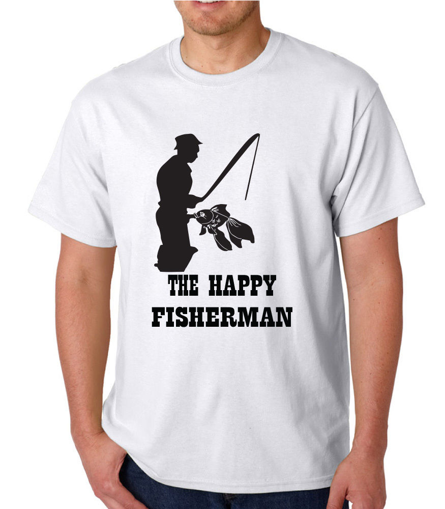 Vintage T Shirts O-Neck Short Sleeve Print Mens Happy Fisherman Adult Funny Novelty T-Shirt Christmas Birthday Gift Tee