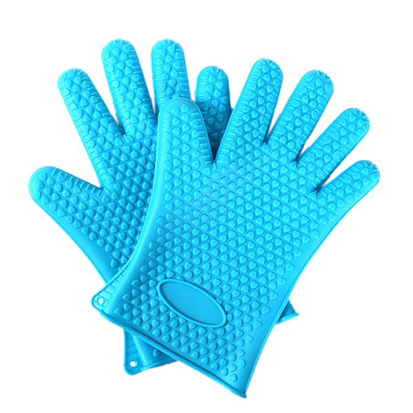 One pair Kitchen Oven Glove Heat Resistant Silicone Pot Holder Baking BBQ Cook Mitts 5color