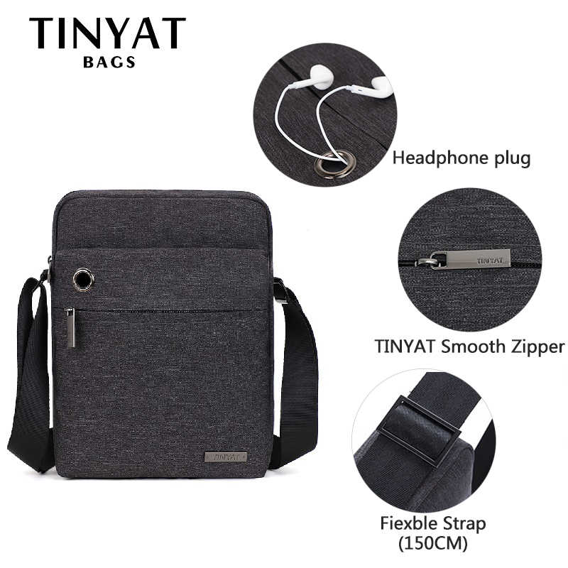 TINYAT Men's Shoulder Bag for Work Canvas Casual Crossbody Bag for 9.7 Ipad Men's Business bag Travel Messenger Bag men's bag