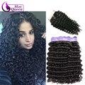 Бразильской Глубокая Волна С Закрытием Бразильский Вьющиеся Волосы С Закрытием 3 Связки С Закрытие Rosa Продукты Волосы С Закрытием # 1b